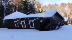 Northwoods camp building collapse caught on camera