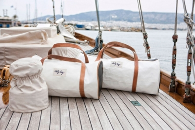 Bags made from old sailcloths that smell like the ocean breeze