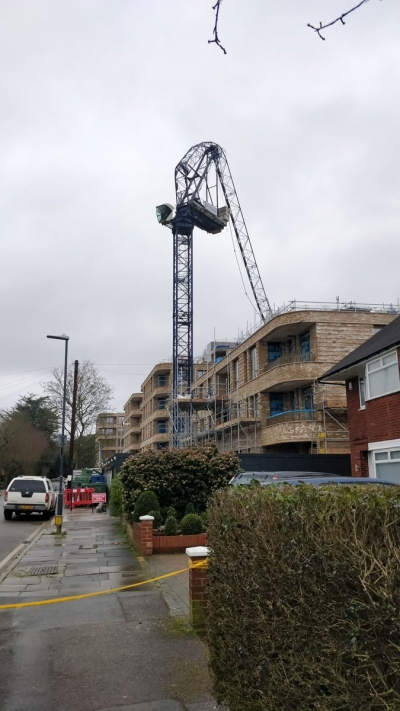 Huge crane folded in half by the wind in Stanmore