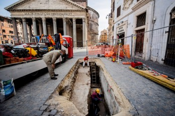 A sinkhole opened near Pantheon, Rome, revealing slabs of ancient streets