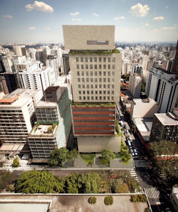 This tower in São Paulo is formed out of four irregularly-stacked volumes