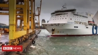 Ferry crashes into crane in Barcelona port causing huge fire