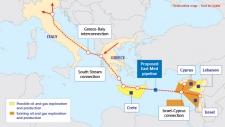 East Med Gas Pipeline Route