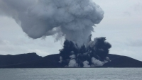 Tongan volcano activity forms island in the Pacific [Video]