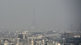 Pollution was visible in Paris on March 18, 2015.